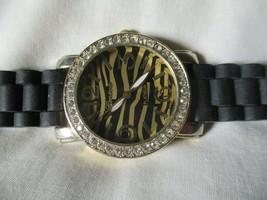 Geneva Platinum Watch Black Buckle Band Gold Toned Zebra Striped Rhinestones - $29.00