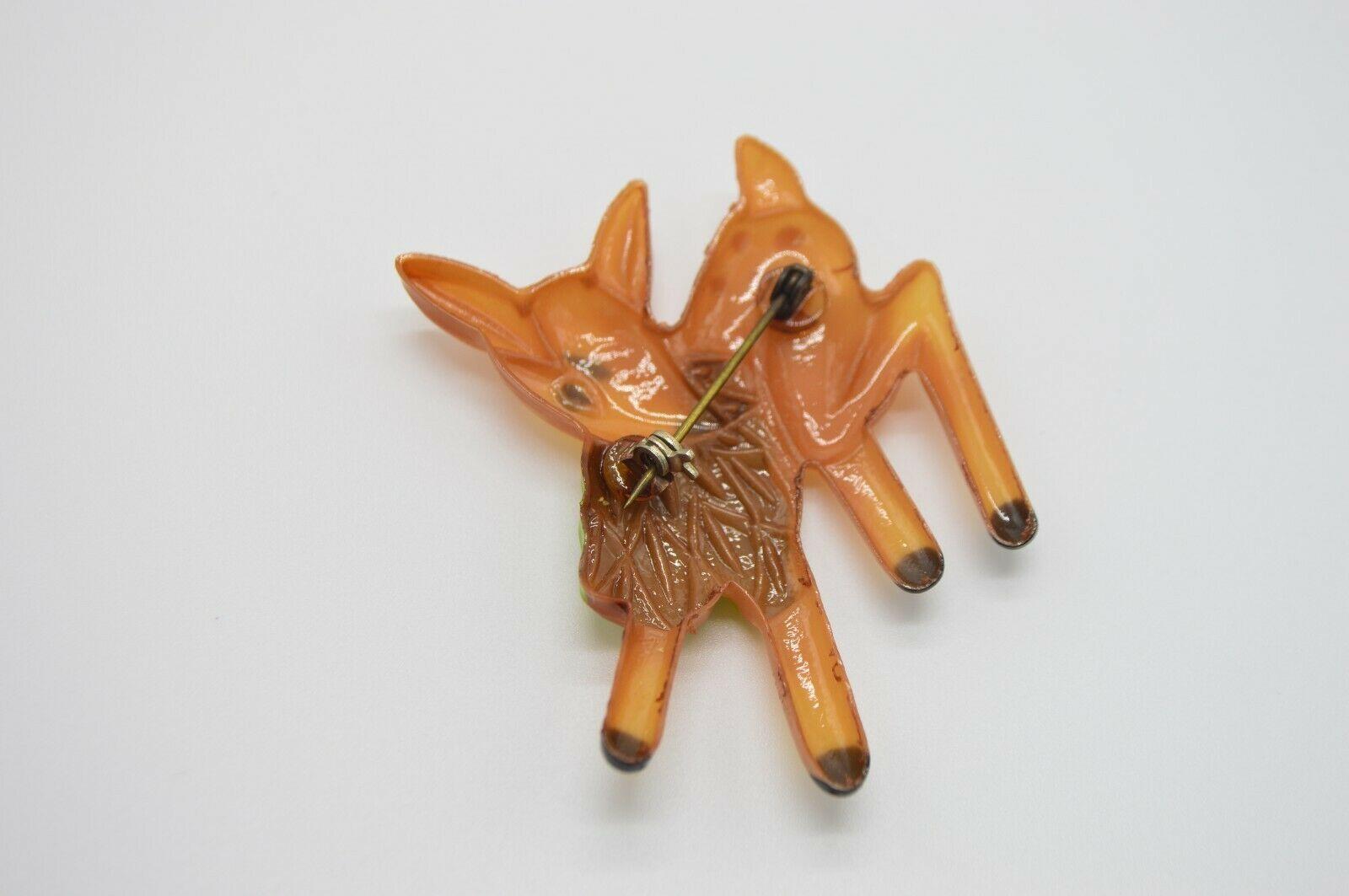 Vintage Plastic Eating Deer Brown Green Pin Brooch image 4