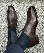 Oxford Brogues Cap Toe Shoes, Leather Shoes For Men, Handmade Leather Shoes - $149.99+