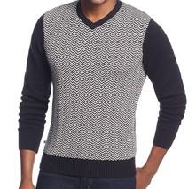 Geoffrey Beene Sweater Men's Black White Ribbed V-Neck Knit Pullover New... - $19.99