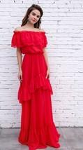 New Women's Off Shoulder Red Maxi Party Dress XS-L - $81.98