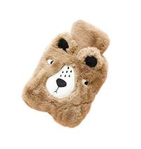 Brown Bear Cute Hot Water Bottle with Soft Flannel Cover Portable, 20 * 14cm