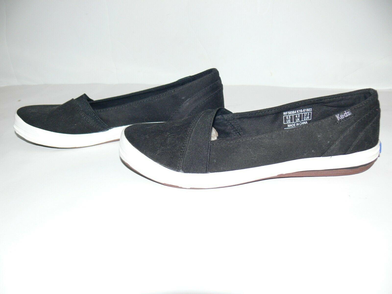 Keds Ortholite Tennis Shoe Black Slip On Womens Size 6.5 US nb
