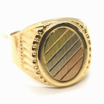 18K YELLOW WHITE ROSE GOLD BAND MAN RING, OVAL, SATIN, FRAME, MADE IN ITALY image 1