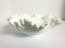 "Large Fenton Hobnail Ruffled Milk Glass Bowl with Handle 11.5"" Vintage M... - $49.49"