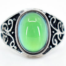 Vintage Inspired Style Silver & Black Painted Color Changing Cabochon Mood Ring image 6