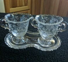 Vintage Fostoria HEATHER Etched Mini Creamer Sugar Tray 3 Piece Set Elegant - $18.50