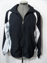 PORT AUTHORITY Track Jacket womens M Blue White Zip up Sport coat VENTED... - $8.90