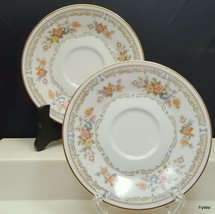Noritake Homage Saucers Set of 2 Ivory China Yellow Orange Floral Gold T... - $12.87