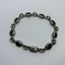 "Vintage Sterling Silver 925 Mexico Oval Onyx Bracelet Signed IR-06 8"" Le... - $74.25"