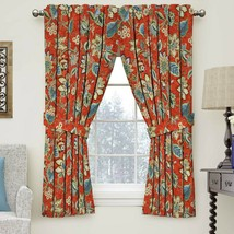 Waverly Brighton Blossom Gem Curtain Panel Jacobean Floral Rusty Red Blu... - $37.61