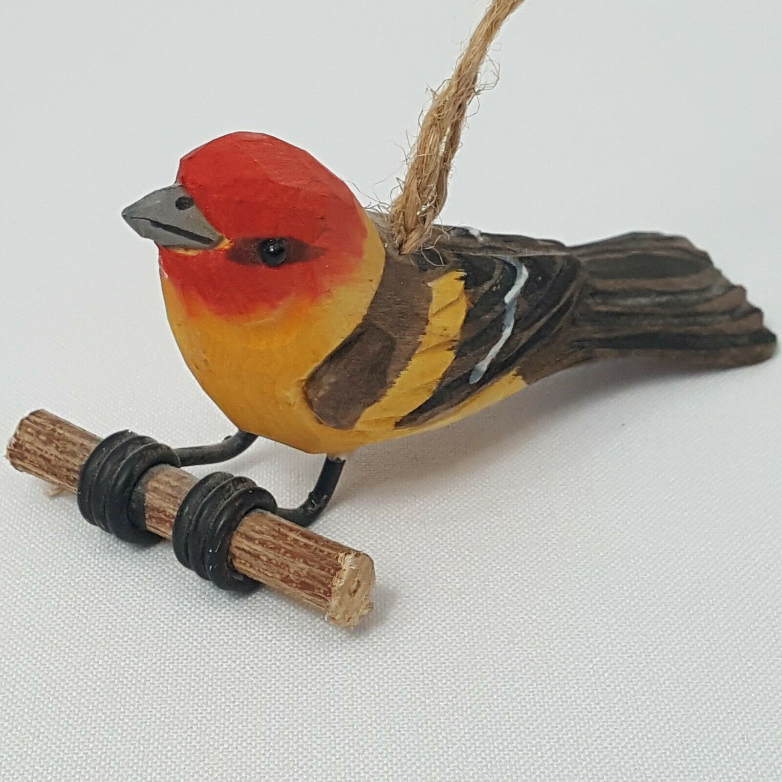 Carved Wood Bird Western Tanager Hanging Ornament Red Head Yellow Body Perched image 3