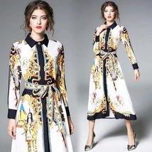 Retro palace fashion printing lapel long sleeve Slim lace long dress - $59.00