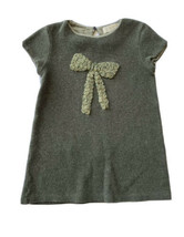 Zara Sweater Dress Girls 6 7 Bow Wool Green Olive Short Sleeve Shift - $15.83