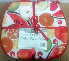 """Set of 4 KITCHEN CHAIR PADS CUSHIONS w/ red strings, COLORFUL FRUITS 15""""... - $19.79"""