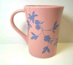 Starbucks Coffee Mug Dusty Pink & Blue Floral Tapered 2006 13 oz - $9.70