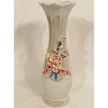 """Vintage Opalescent Vase with Flowers 10"""" Tall - $14.85"""