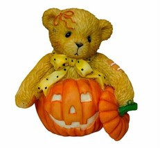 Cherished Teddies bear figurine Enesco Leslie Pumpkin Halloween friendsh... - $23.17