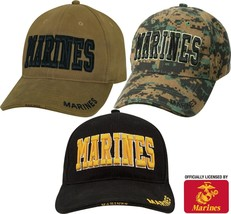 MARINES Baseball Hat Adjustable Low Profile USMC Deluxe 3D Embroidery Ba... - $19.99