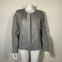 Calvin Klein Blazer Jacket Faux Suede Paneled Gray Women Sz 14 NEW NWT - $99.99