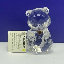 Fenton glass teddy bear figurine birthday stone sculpture November Citri... - $38.50
