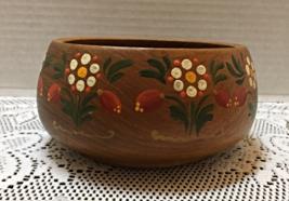 Vintage Hand Painted Wood Bowl Burgemeister Turned Wood Candy Bowl - $12.00