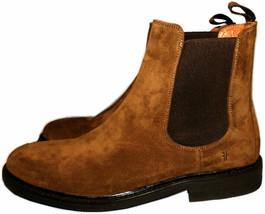 Frye Weston Suede Chelsea Boot Chestnut Gored Slip On Ankle Booties Sz 10 - $159.00