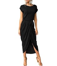Mansy Womens Casual Cuffed Short Sleeves Belted Long T Shirt Warp Maxi D... - $26.68
