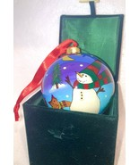 Happy Holidays Velveteen Gift box Green  Satin Lined with Snowman Ornament - $22.75