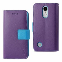 REIKO LG ARISTO/ FORTUNE/ PHOENIX 3 PLUS 3-IN-1 WALLET CASE IN PURPLE - $11.68