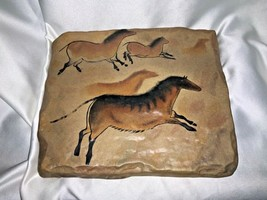 1999 Bradford Exchange The Dawn of Man Running Horses Stone Tile Wall Plaque - $35.00
