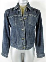 LIZ CLAIBORNE womens Small petite  L/S blue 4 pocket DENIM button jacket (A2)P - $18.84