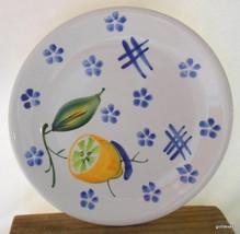 "Set of 2 Ancora Italy Salad Dessert  Plate Fruit Lemon and Blue Flowers 8"" - $12.00"
