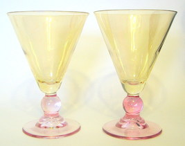 Cocktail Glasses 2 Piece Set 5 3/4 inches Burgandy and Gold - $17.99
