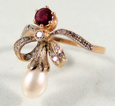Victorian 0.56ct Rose Cut Diamond Ruby Pearl Well Crafted Wedding Ring - $272.09