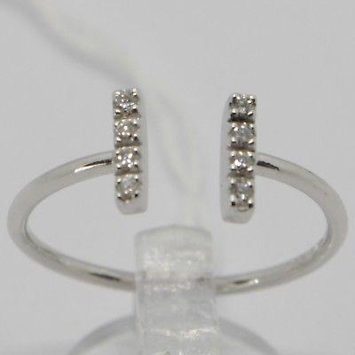 WHITE GOLD RING 750 18K, OPEN, DOUBLE ROW OF DIAMONDS, CARAT 0.09, ITALY