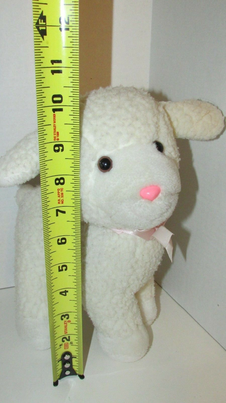 Enesco plush firm standing lamb sheep nubby fur pink bow older off-white cream image 2