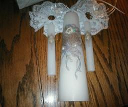 Vintage 3 piece Wedding Unity Candle Set 1 Pillar & 2 tapers Wedding Bel... - $48.98