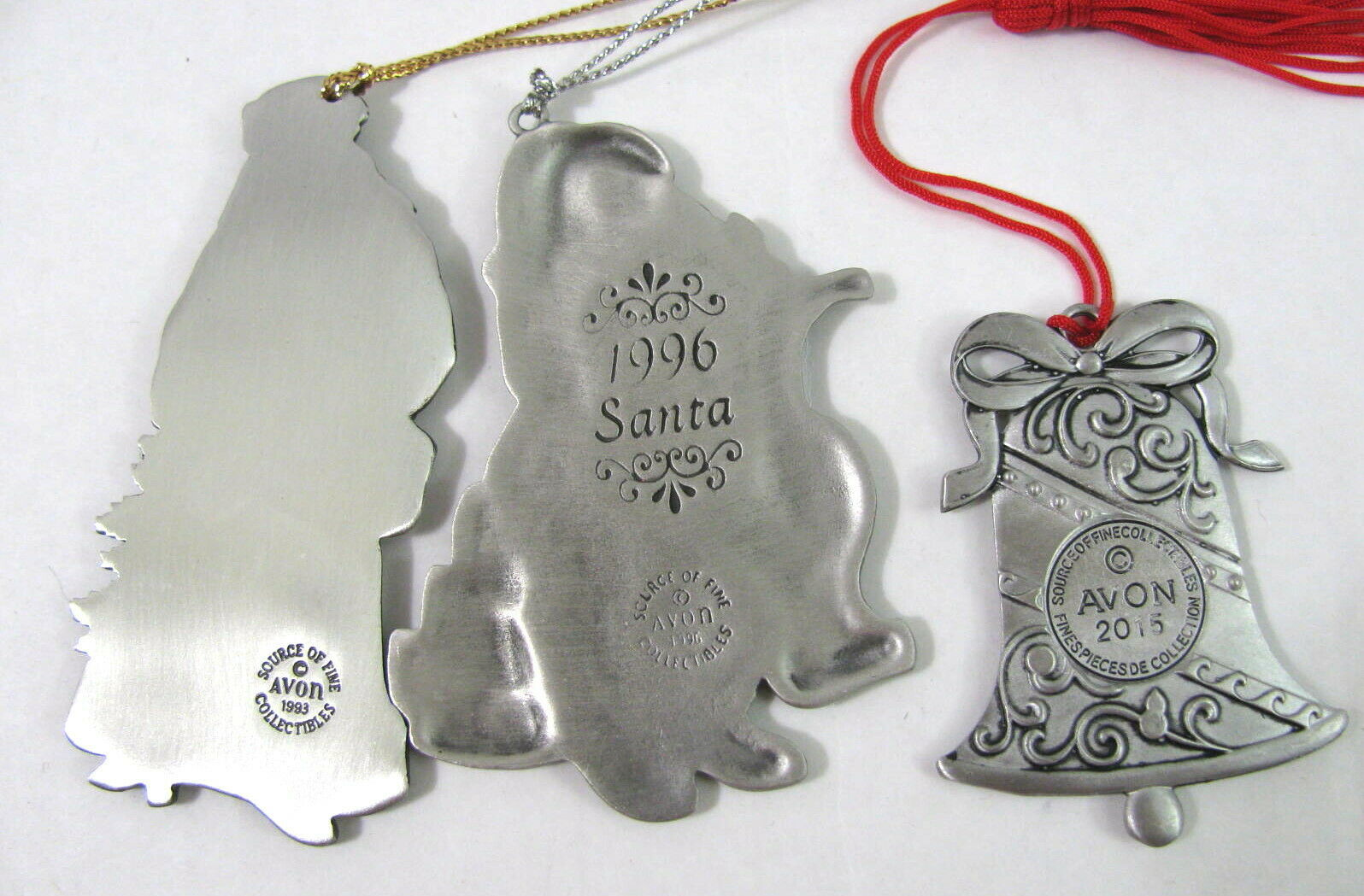 AVON Pewter Ornament Set Santa's Sleigh 1993 2002 Angel Father Xmas 7 Lot vtg