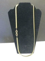 Vintage Authentic GG GIVENCHY 18k Gold Tone Herringbone Curb Chain Neckl... - $80.75
