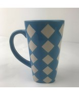 Large Tall Turquoise Diamond Pattern Over sized Mulberry Coffee Mug Cup - $9.89