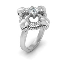 5.5mm Round Cut 0.60ct DEF White Moissanite Rope Skull Ring 925 Sterling Silver - $224.99