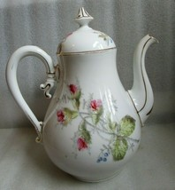 Antique Large OLD PARIS FRENCH EMPIRE Moss Rose & Blue Berry TEAPOT Sign... - $49.45