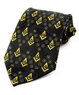 Mason Mens Necktie Masonic Freemason Order Compass Square Black Neck Tie - $15.79