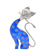 Cat Figurine Sculpture for Room Decor Animal Lovers Iron And Wooden Hand... - $37.99