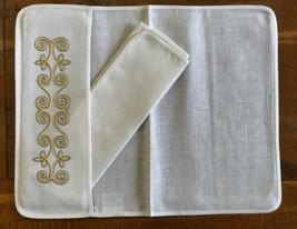 6 Vintage Embroidered Flower Applique Pocket Placemats & Napkins Set French - $59.39