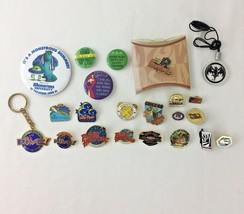 Set of 20 Assorted Logo Collector Pins and Buttons Disney Planet Hollywo... - $29.65
