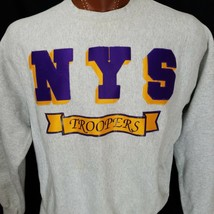 New York State Troopers Sewn In Gray Gold Purple Crew Neck Sweatshirt Lee XL - $40.56