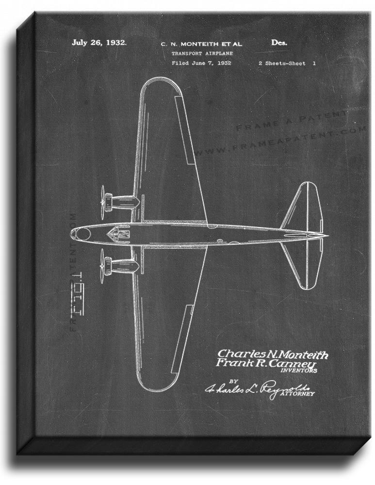 Primary image for Transport Airplane Patent Print Chalkboard on Canvas