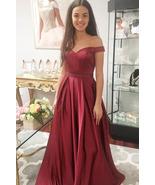 Elegant Off the Shoulder Burgundy Long Prom Dress Party Dress - $169.00